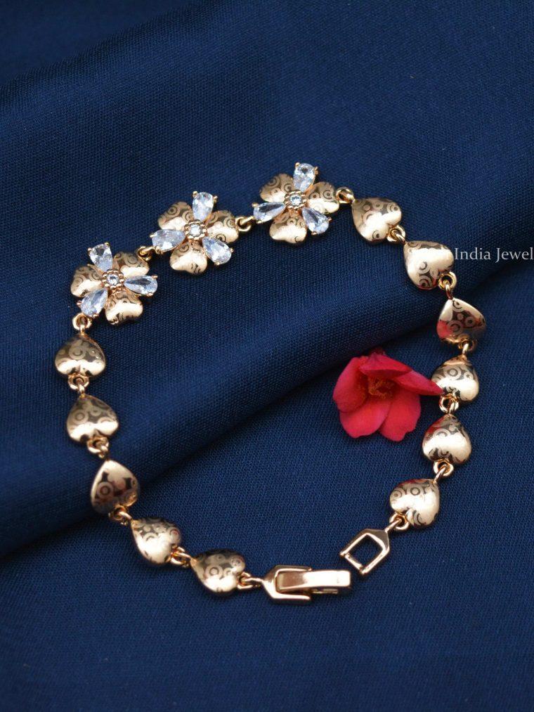 Floral Design Rose Gold Bracelet