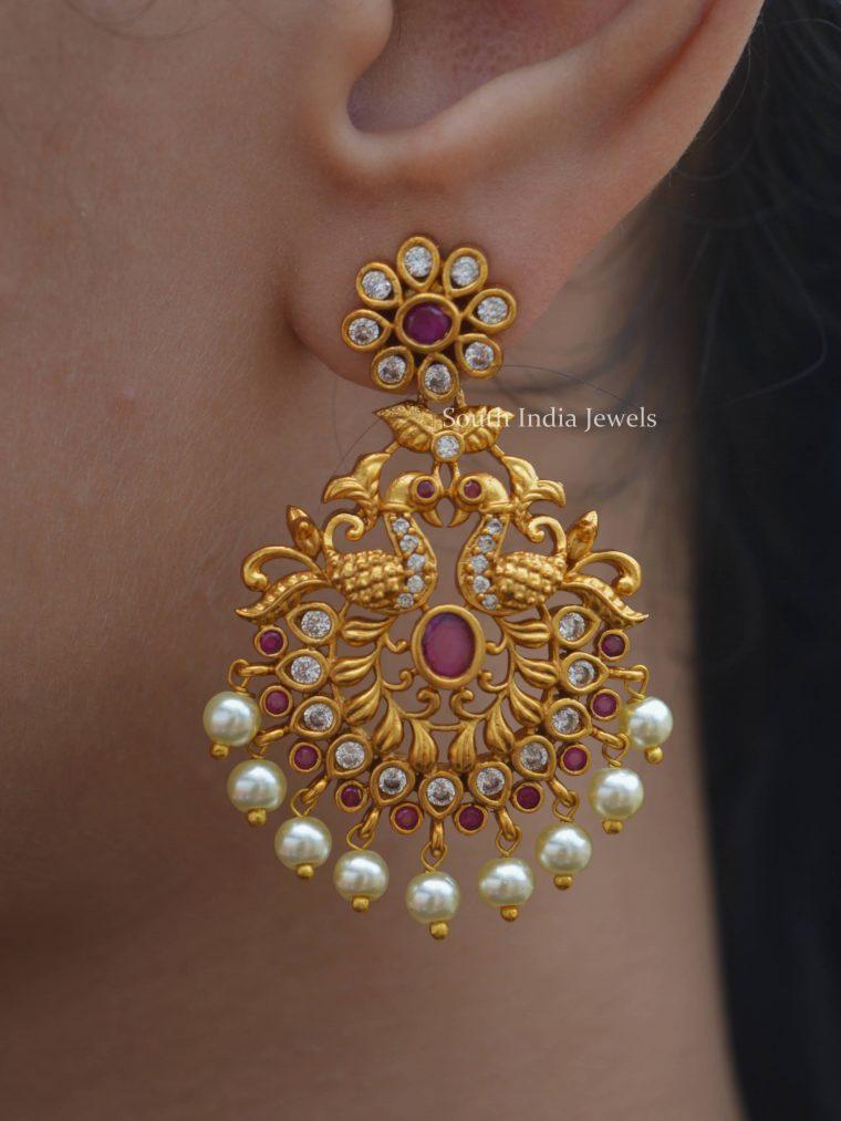 Floral Peacock Chandbali Earrings