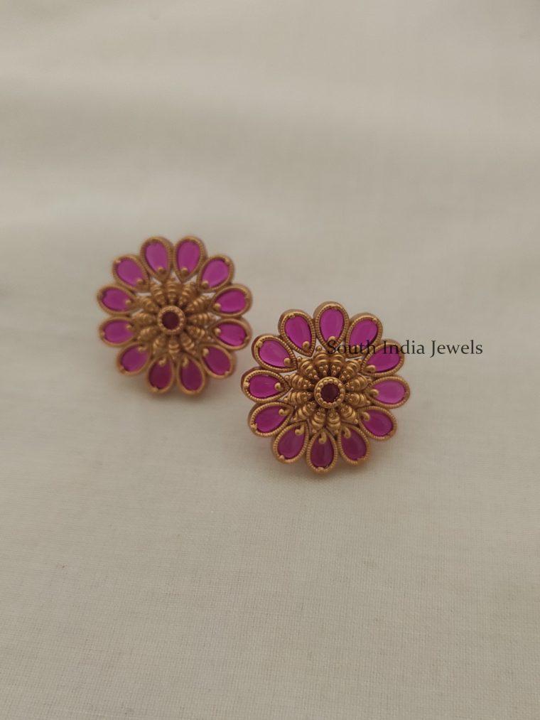 Flower Design Kemp Stone Ear Studs