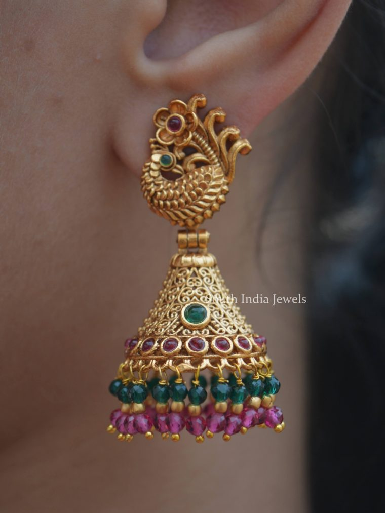 Gold Finish Peacock Design Jhumkas