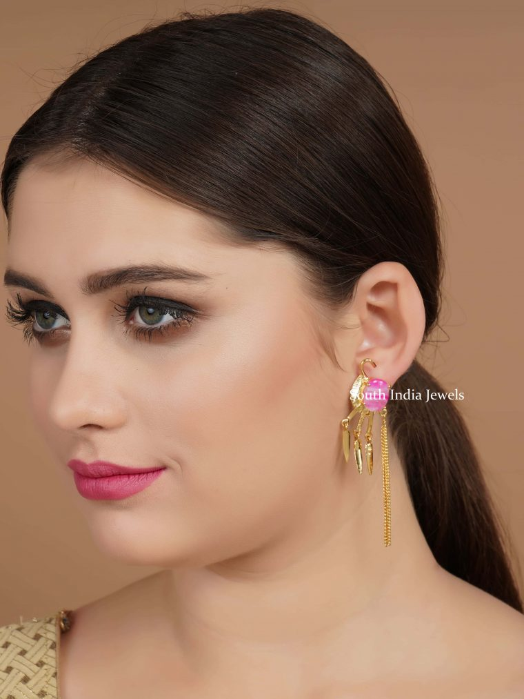 Gold-Finish-Pink-Stone-Earrings