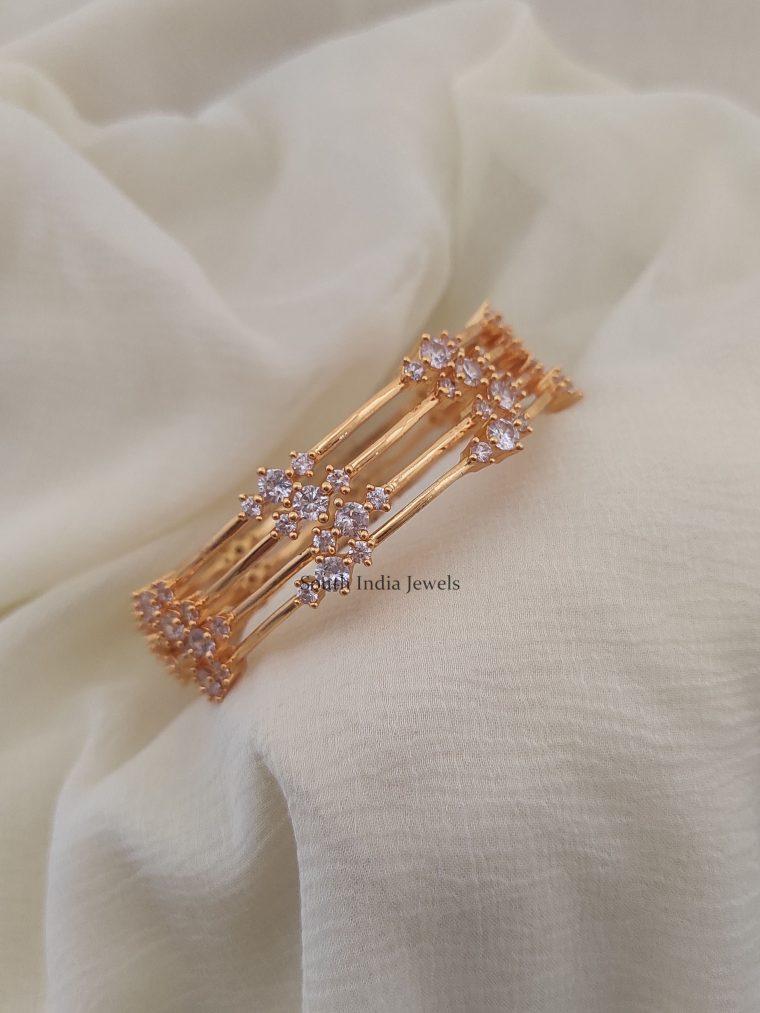 Gold Finish White Stones Bangles