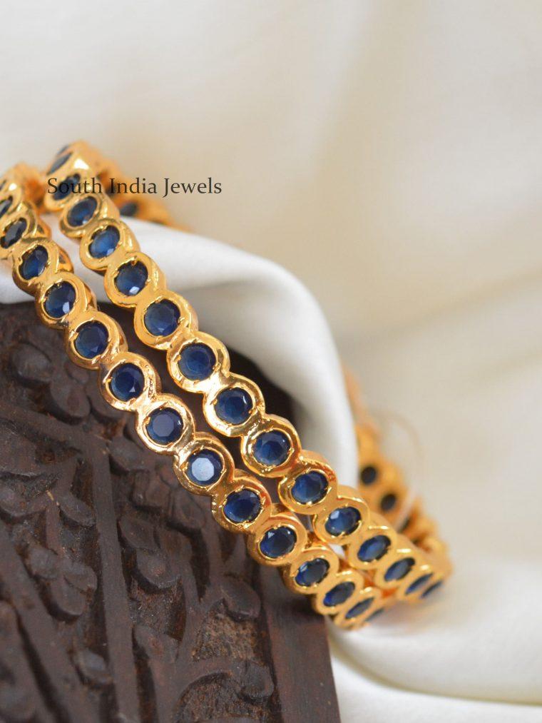 Gold Polish Big Stone Bangles
