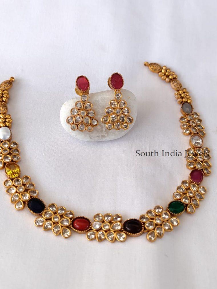 Grand Navarathna Stone Necklace Set