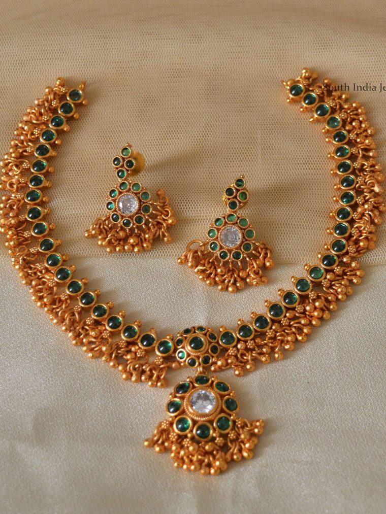 Guttapusalu Green Matte Finish Necklace