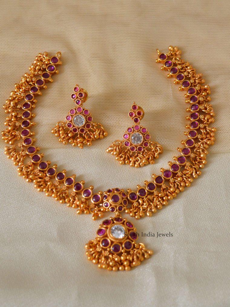Guttapusalu Pink Matte Finish Necklace