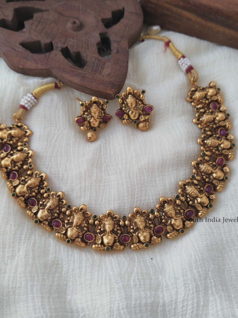 Kemp Stone Ganesha Necklace Set