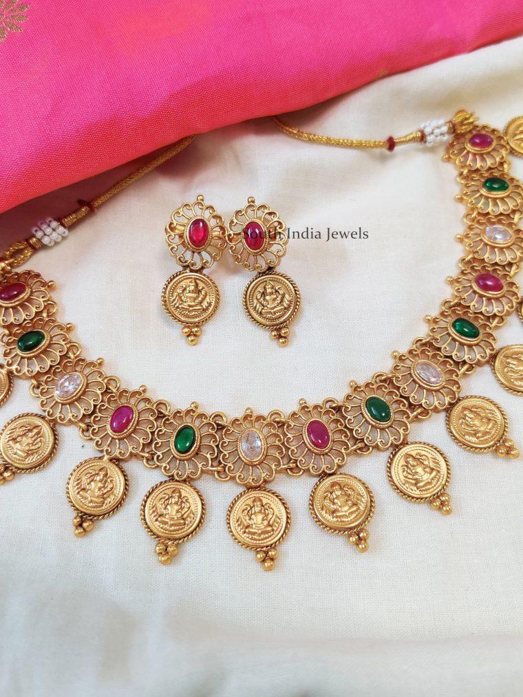 Lakshmi-Coin-Multi-Stone-Necklace