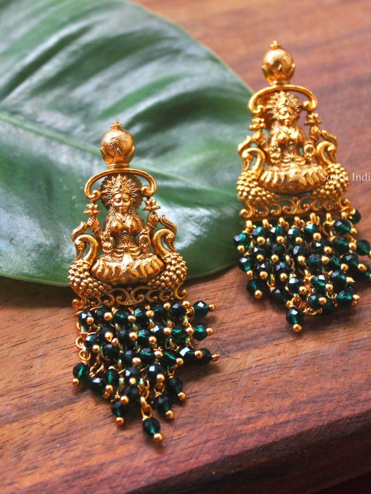 Lakshmi Emerald Beads Earrings