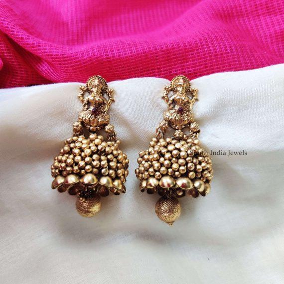 Lakshmi Golden Beads Jhumkas