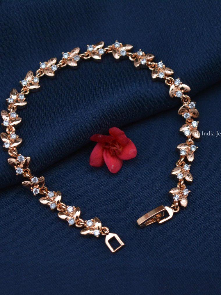 Leaf Design Rose Gold Bracelet