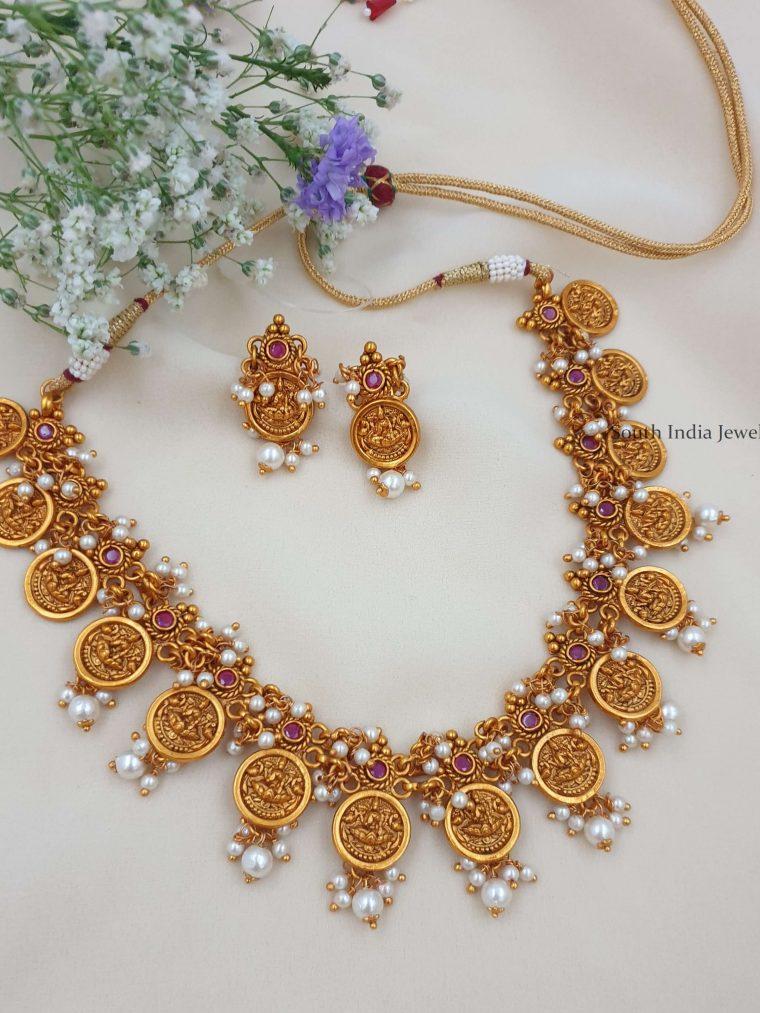 Matte Finish Lakshmi Design Necklace