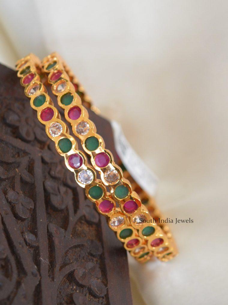 Multi Stone Gold Polish Bangle Set