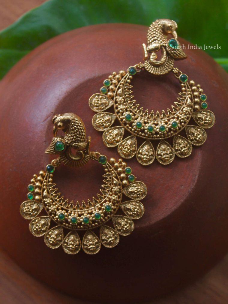 Peacock Design Chandbali Earrings