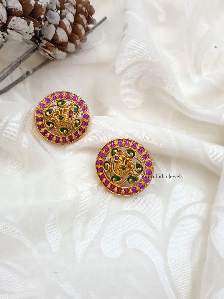Peacock Design Kemp Stone Earrings