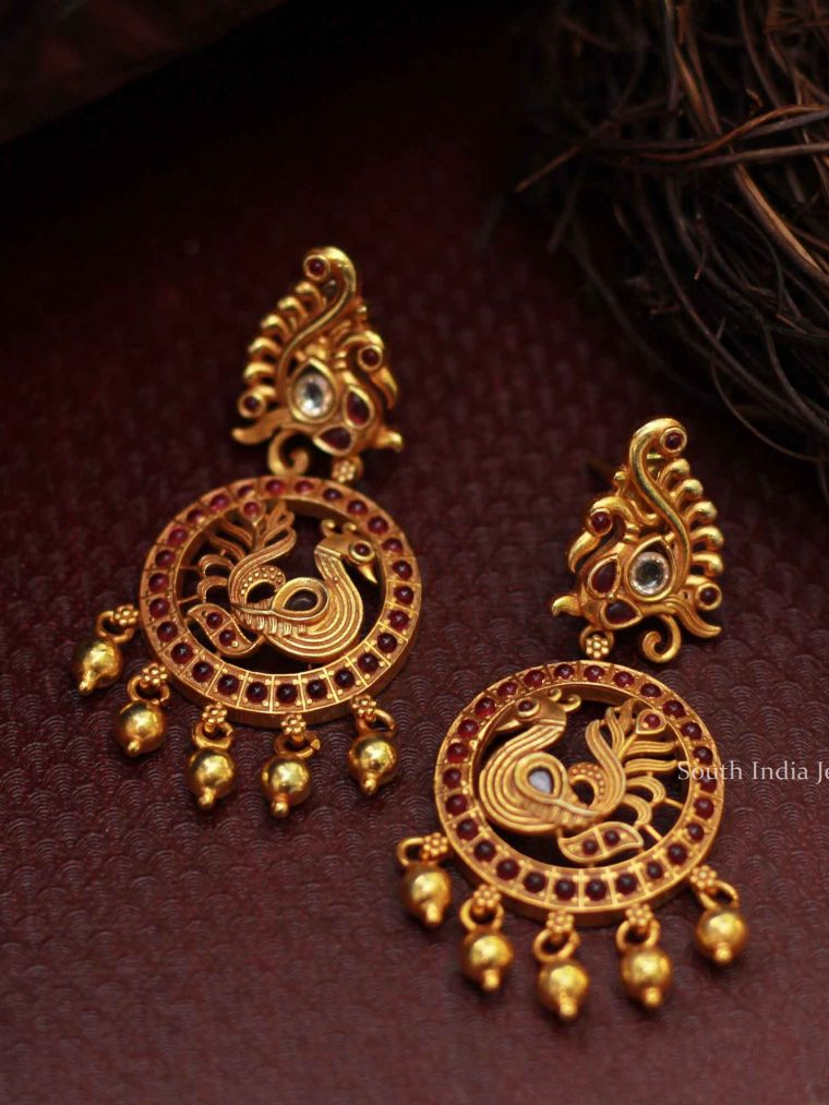 Peacock Design Silver Gold Plated Earrings