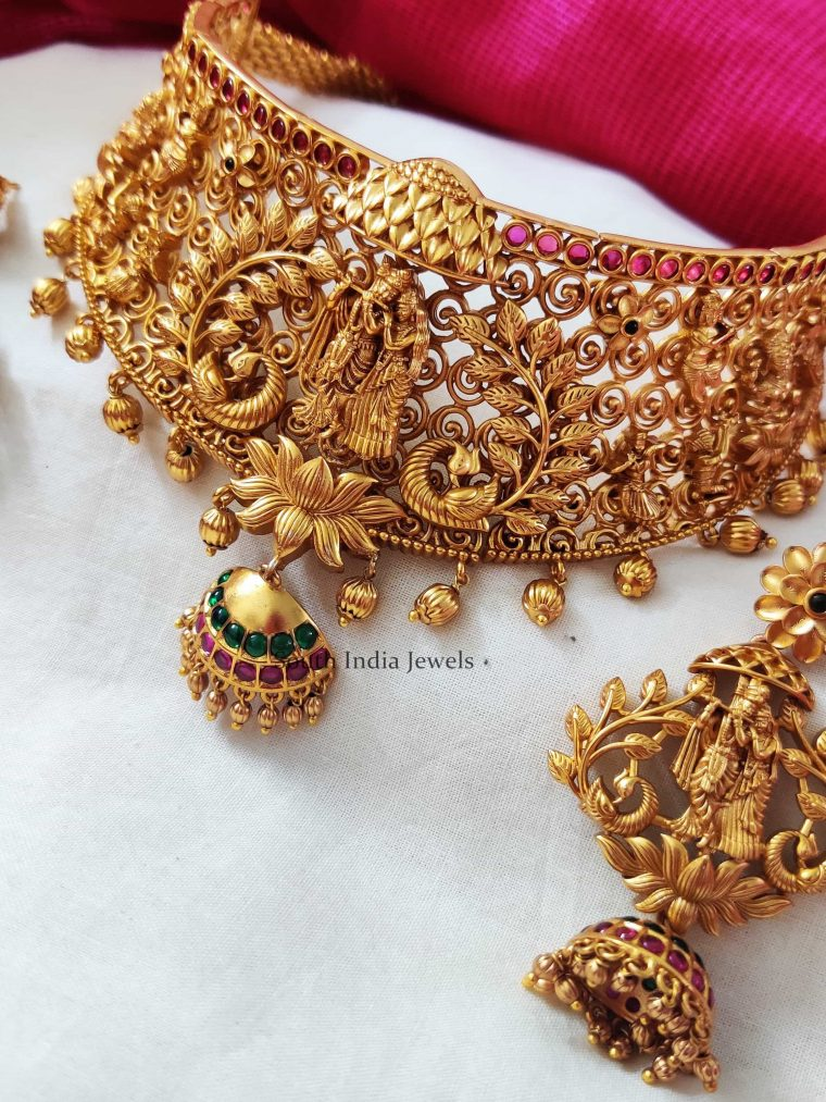 Radha-Krishna-Matte-Choker-Set