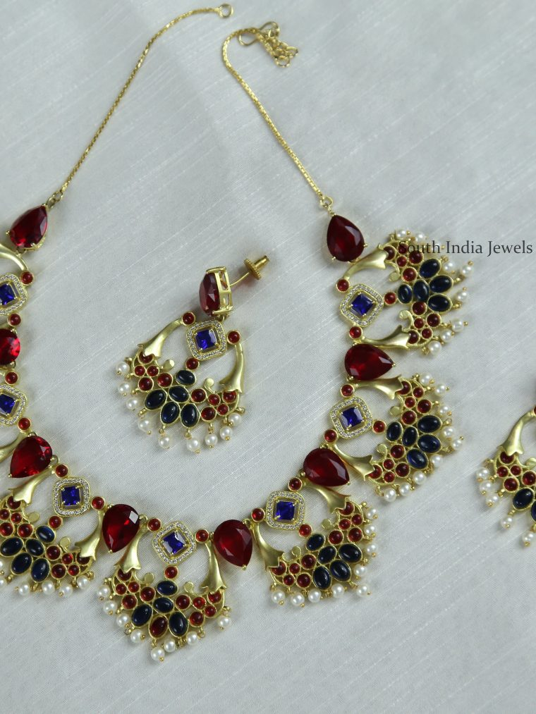 Red & Blue Stones Necklace (2)