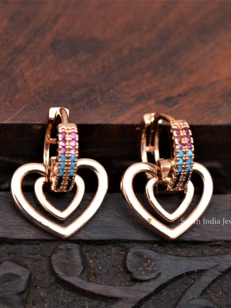 Rose Gold Heart Shape Kids Bali Earrings