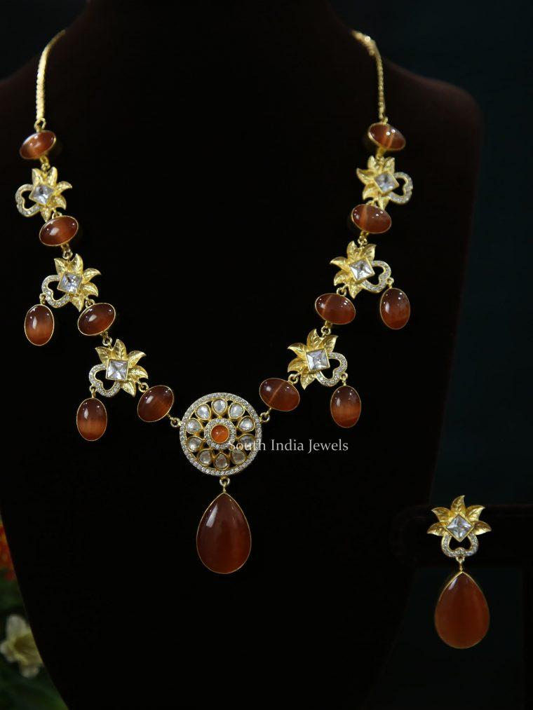 Rusty Orange & Kundan Stones Necklace (3)