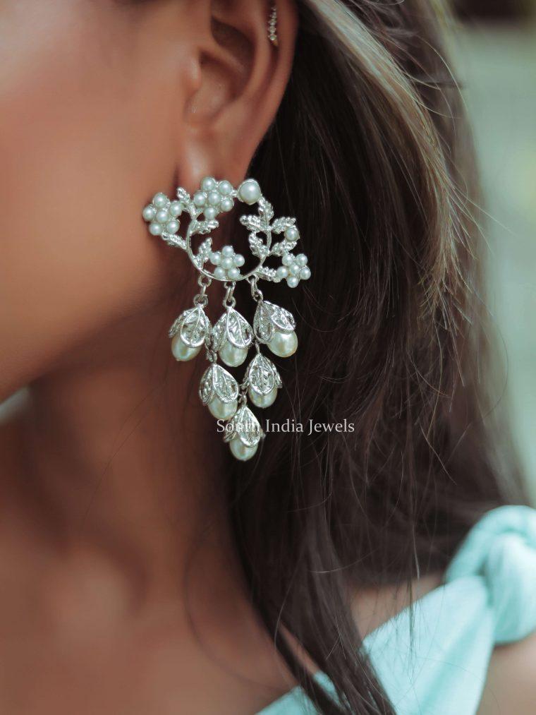 Silver Matte Finish Pearl Designer Drops