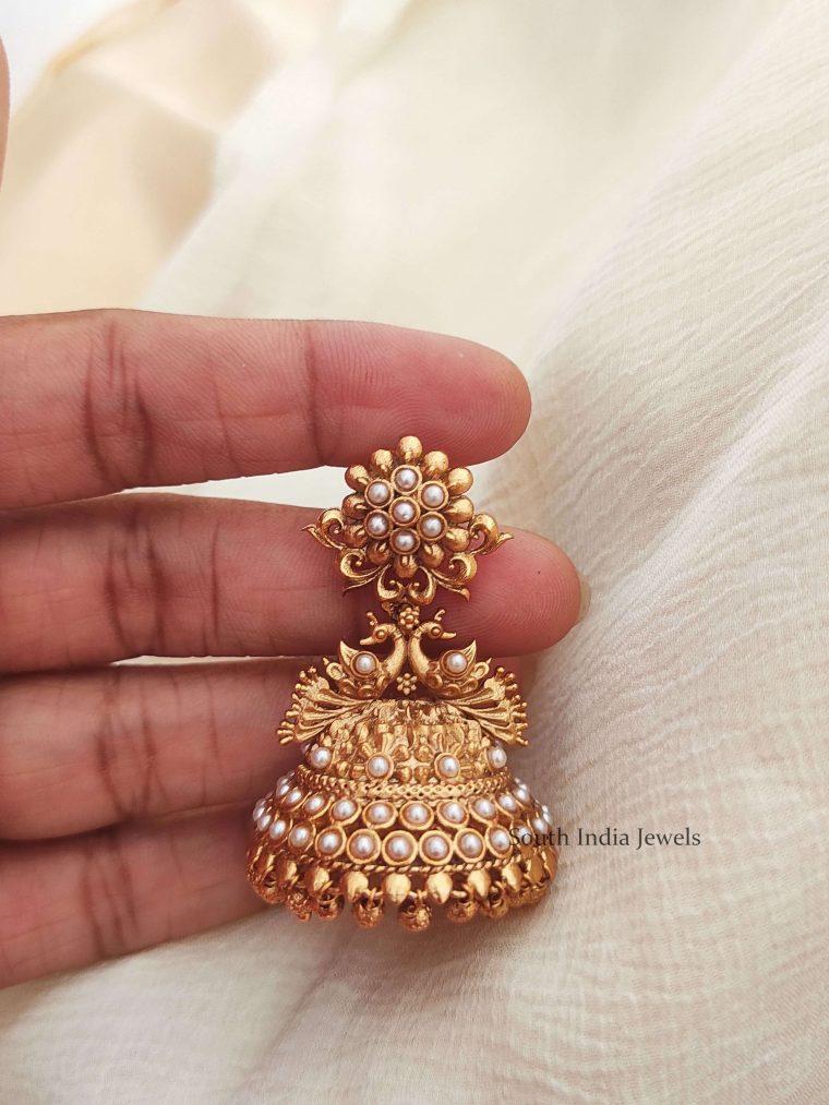Simple Pearl Bridal Jhumkas (3)