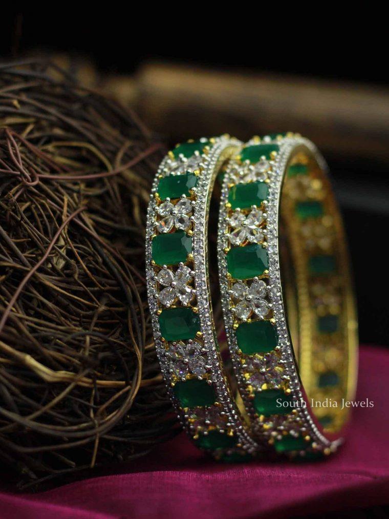 Southern Style White & Green Stone Bangles