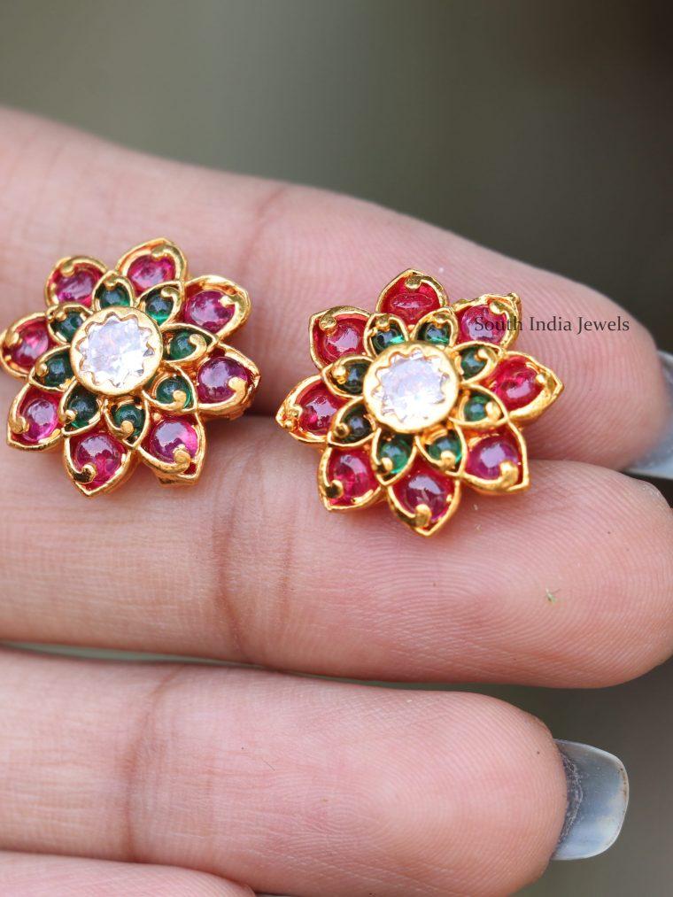 Stunning Ruby & Green Stone Earrings