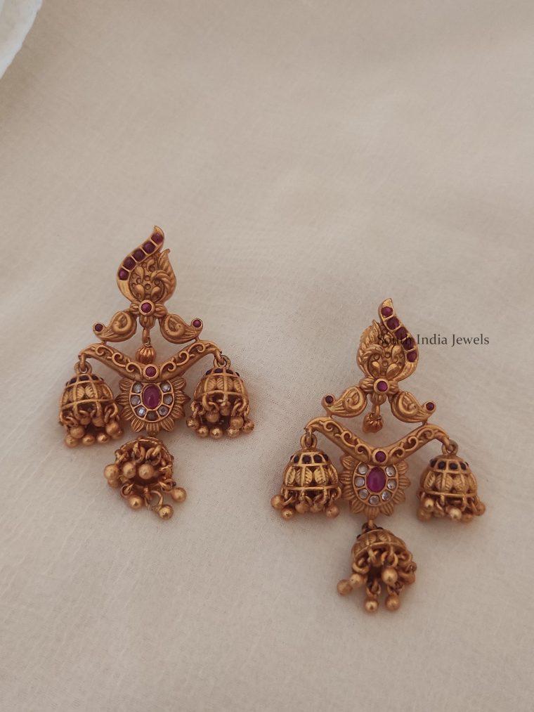Stunning-Triple-Jhumkas-Earrings