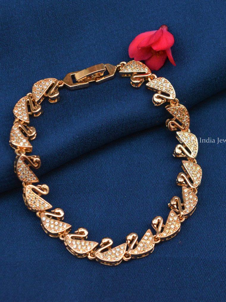 Swan Design Rose Gold Bracelet