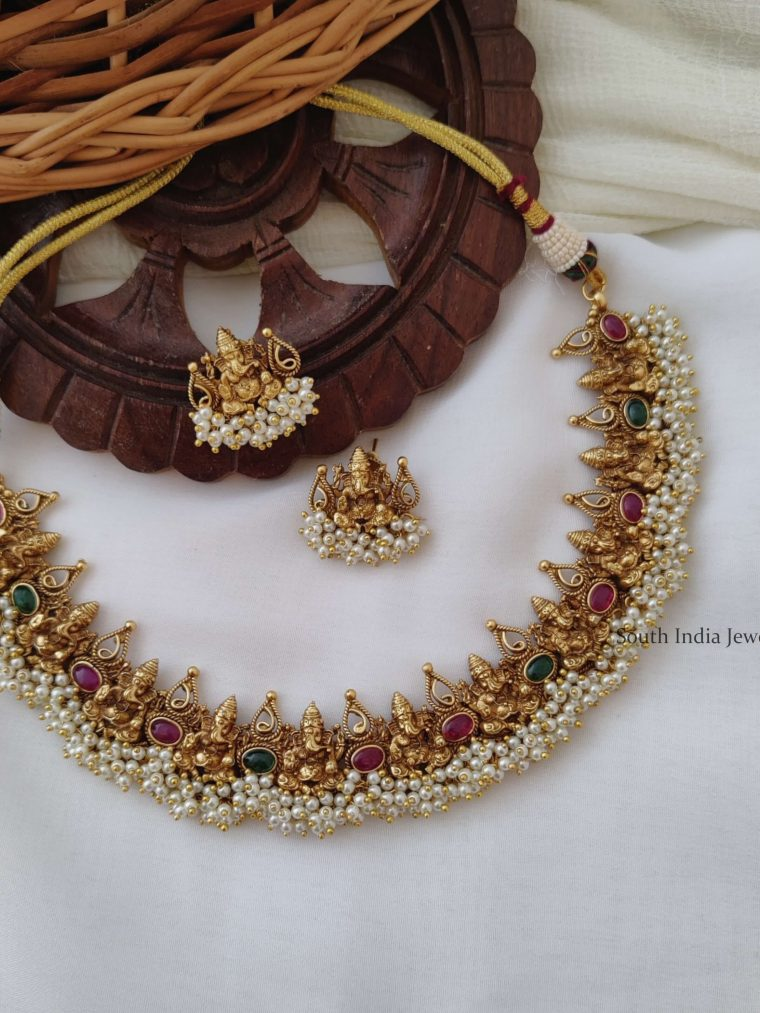 Traditional Ganesha Necklace With Pearls