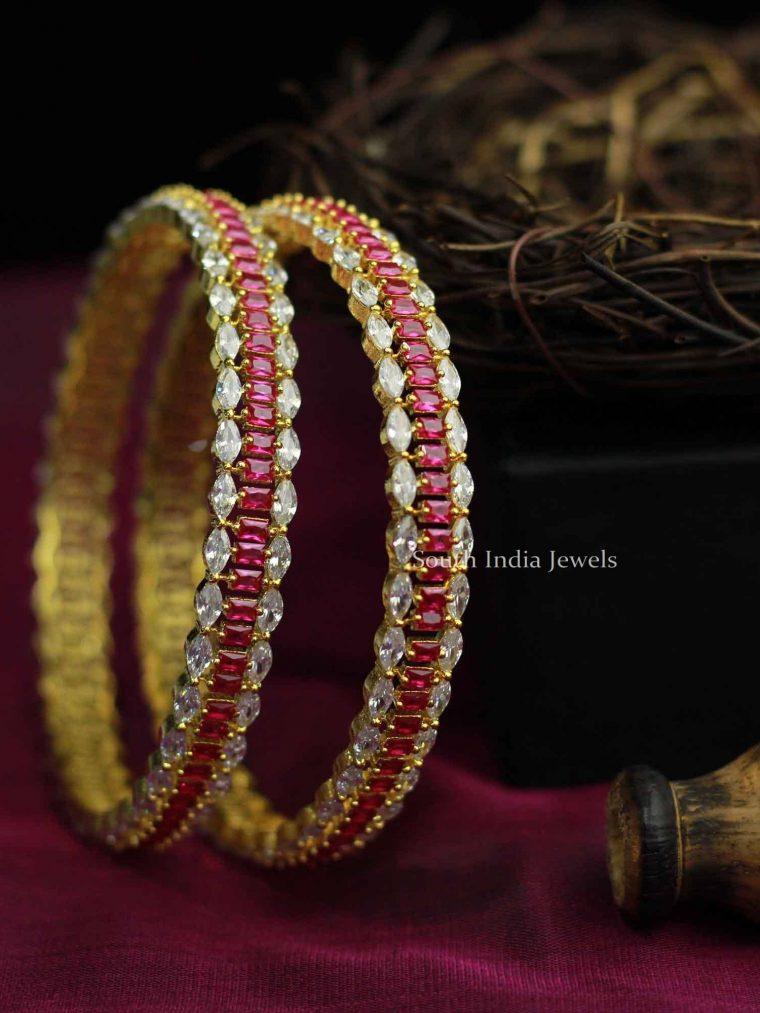 Tremendous White & Pink Stone Bangles