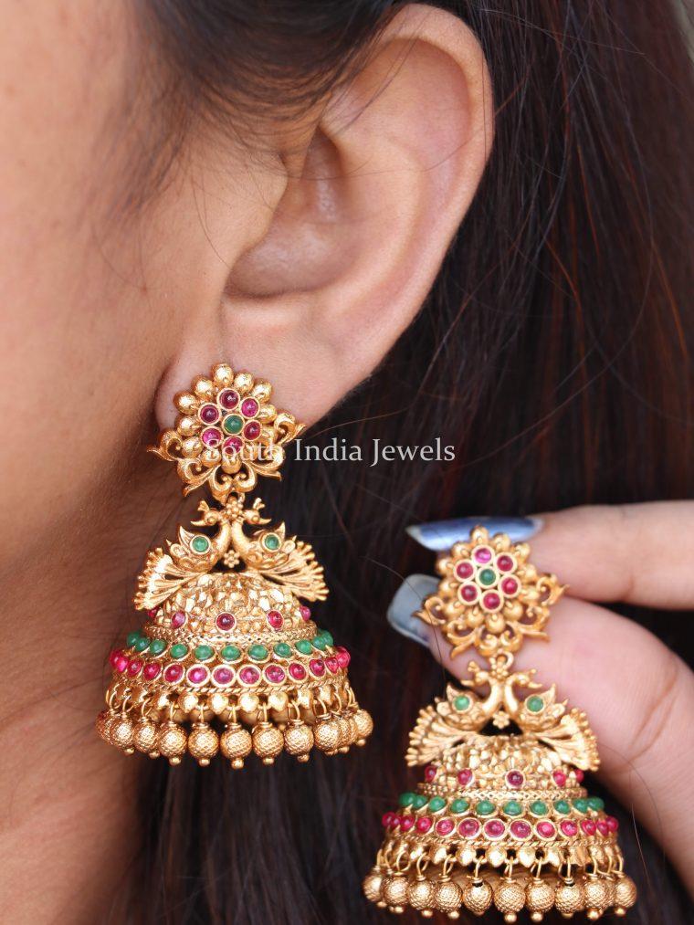 Trendy Gold Finish Jhumkas