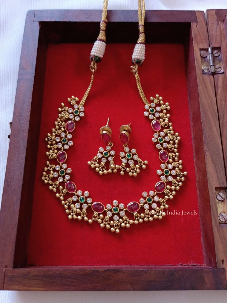 Trendy Green & Ruby Ghungroo Necklace