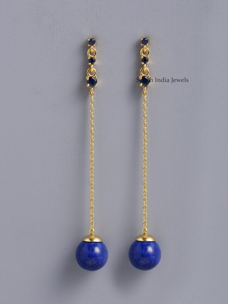 Trendy Lapis Drop Earrings