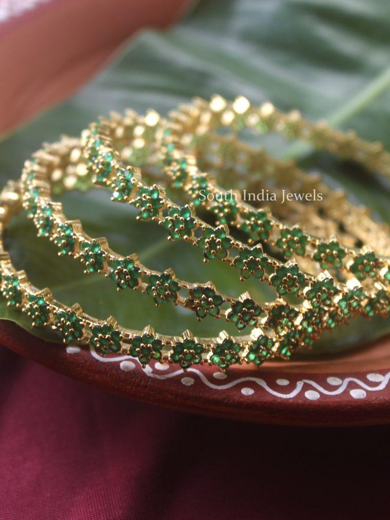 Unique Teeny Green Floret Bangles