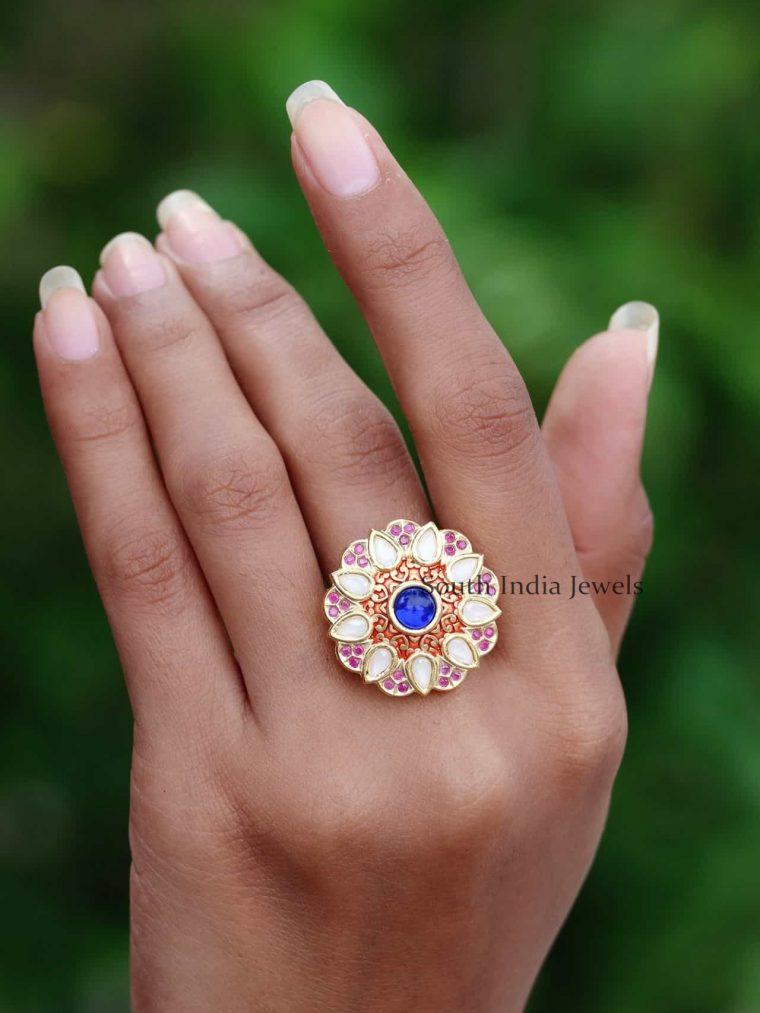 92.5 Silver Floral Gold Finish Finger Ring