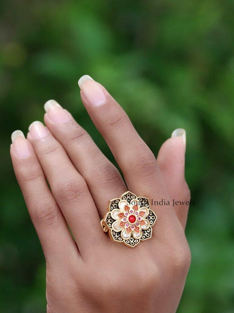 92.5 Silver Gold Finish Finger Ring