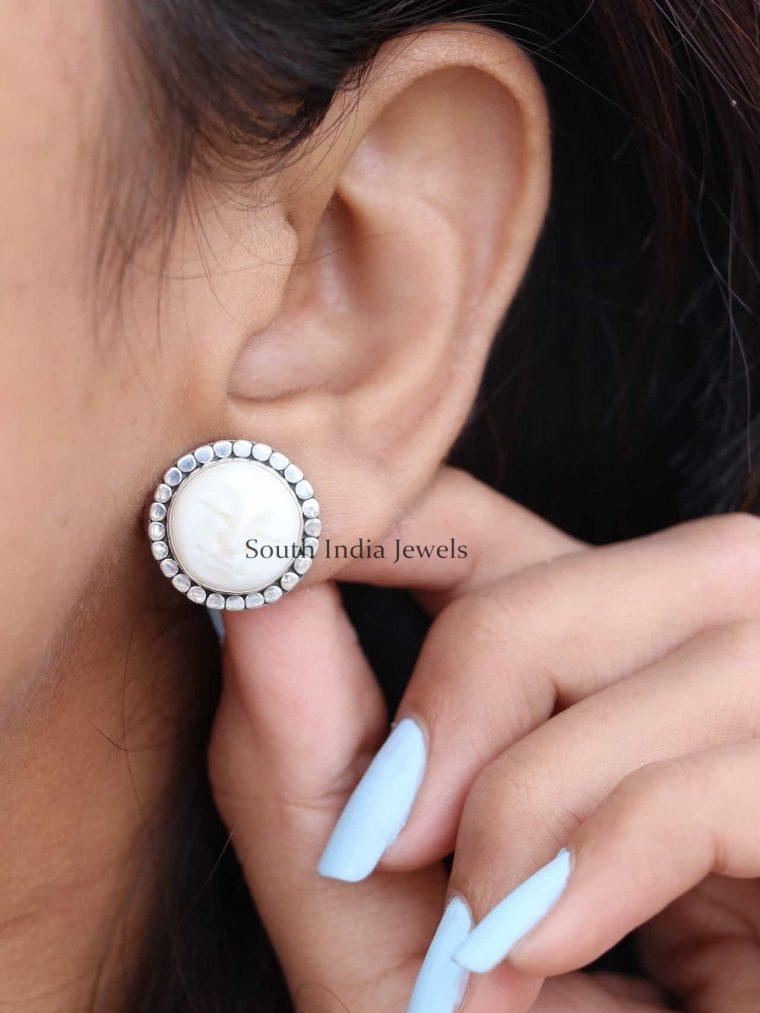 925 Sterling Silver Moon Stud Earrings