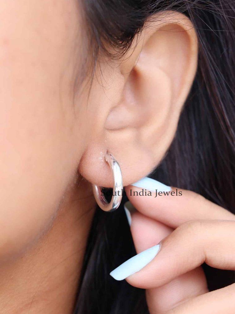 925 Sterling Silver Plain Bali Earrings