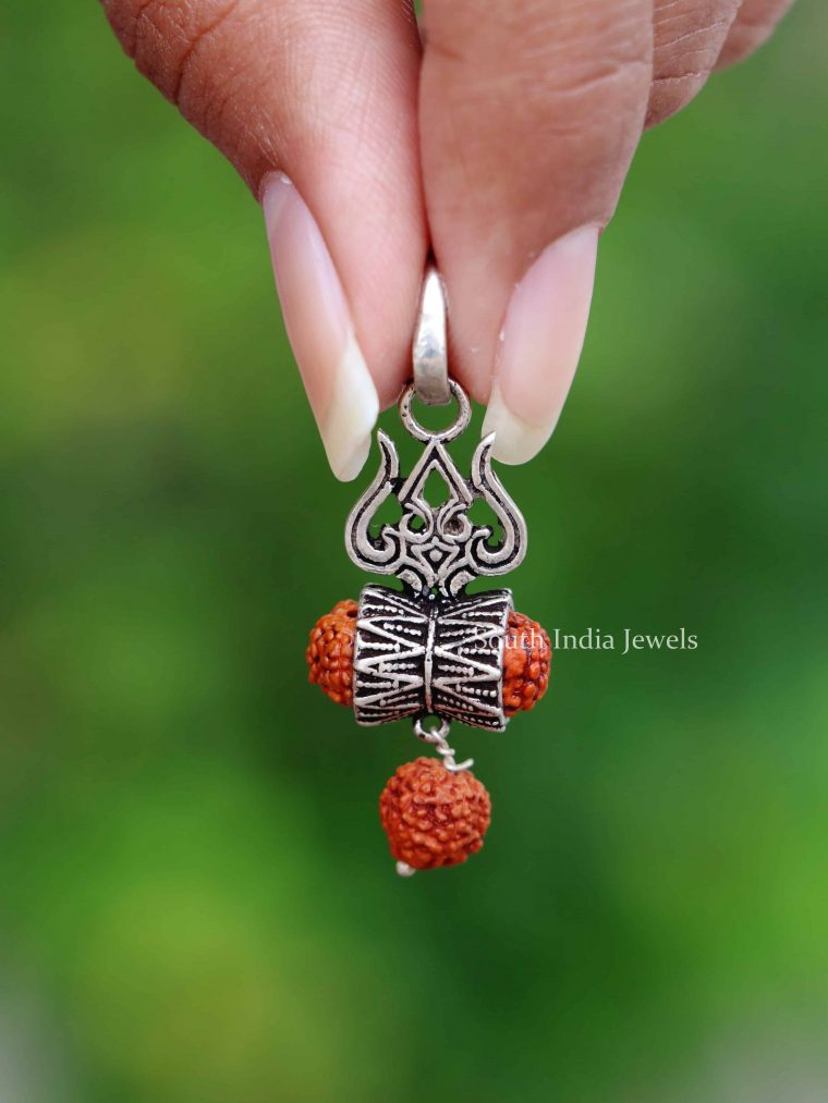 925 Sterling Silver Rudraksha Trishul Pendant