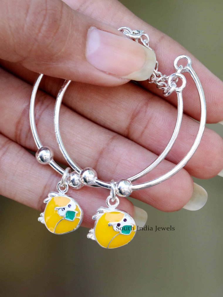 Angry Bird Design 92.5 Sterling Silver Baby Bracelet