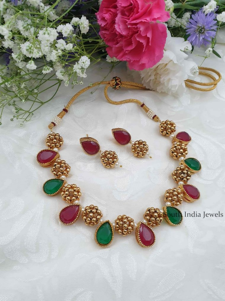 Antique Design Necklace With Earrings (5)