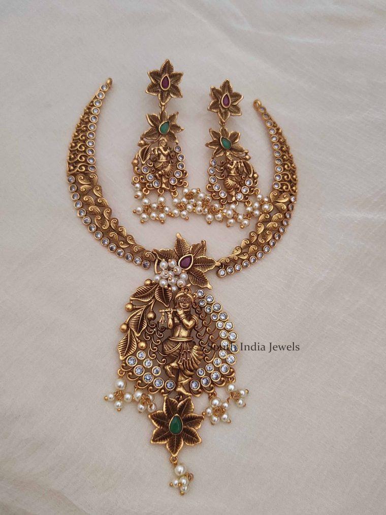 Antique Krishna Matt Finish Necklace