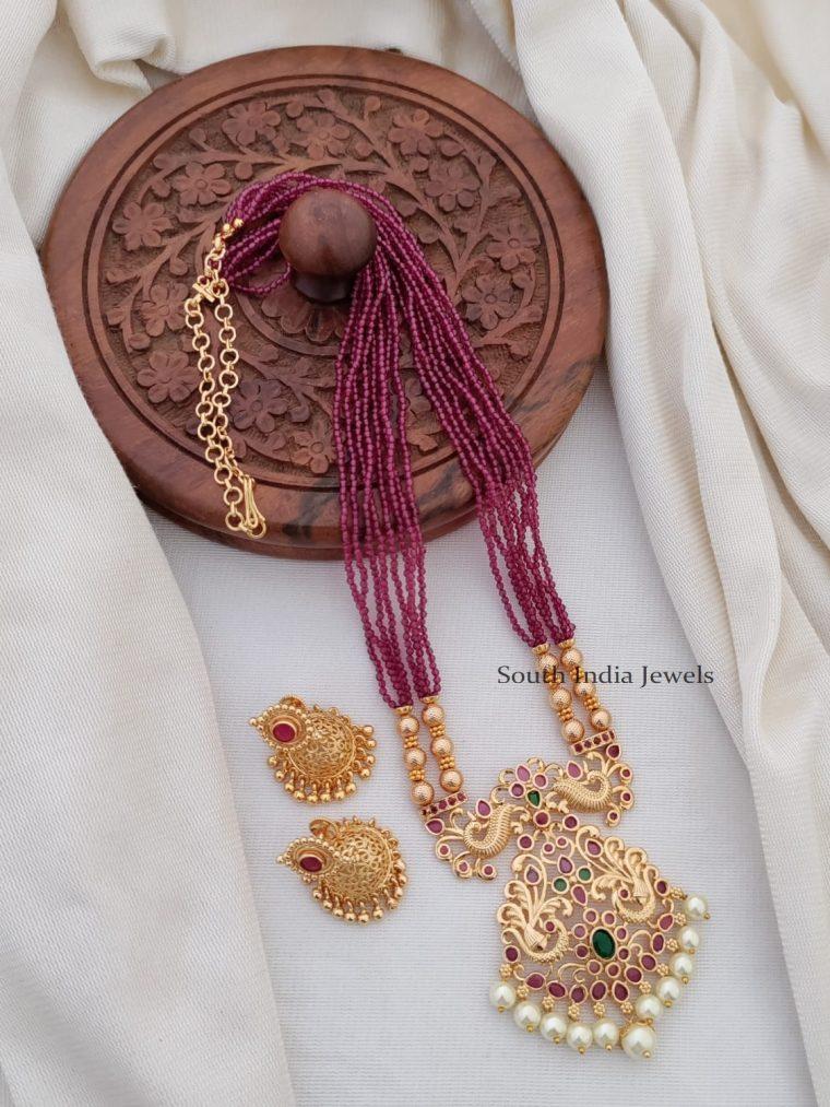 Beautiful CZ Beads Chain Peacock Pendant