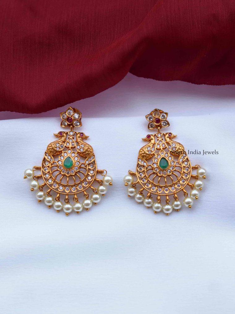 Beautiful Dual Peacock Chandbali Earrings