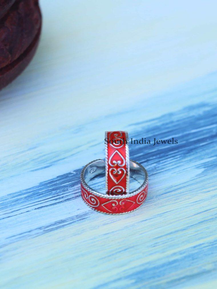 Beautiful Enamel Sterling Silver Toe Rings