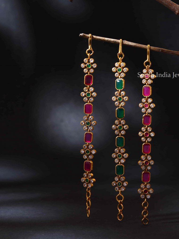 Beautiful Flower Design Stone Ear Chains (7)