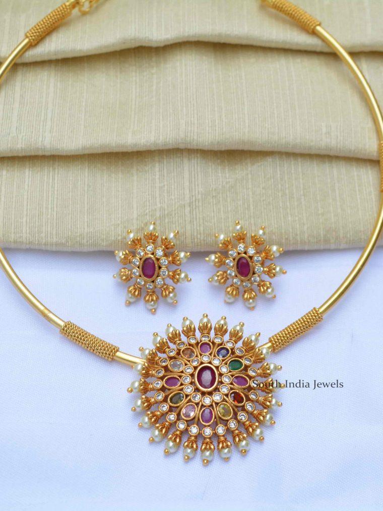 Beautiful Navratna Pipe Design Necklace