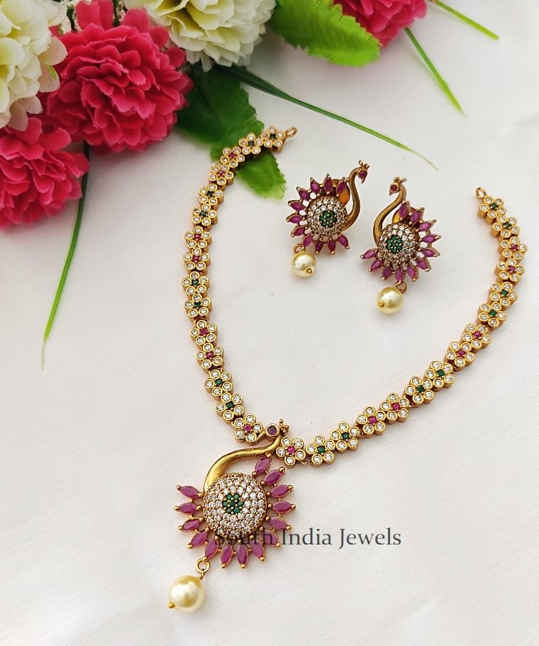 Beautiful Peacock Styled AD Necklace set
